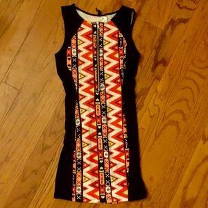 NWOT, printed front zipper body con dress size XS